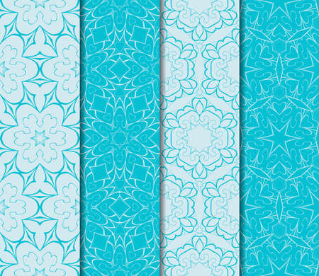 set of seamless floral pattern with hand drawn texture. vector illustration. blue color