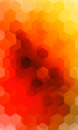 Illustration for hexagonal patterns. 3d illusion. orange, yellow gradient banner. - Royalty Free Image