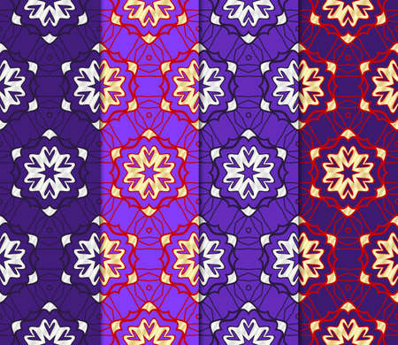 Illustration for Set of Seamless vector pattern. Geometric ornament. linear background, lace texture, tribal ethnic arabic, fashion decorative ornament. - Royalty Free Image