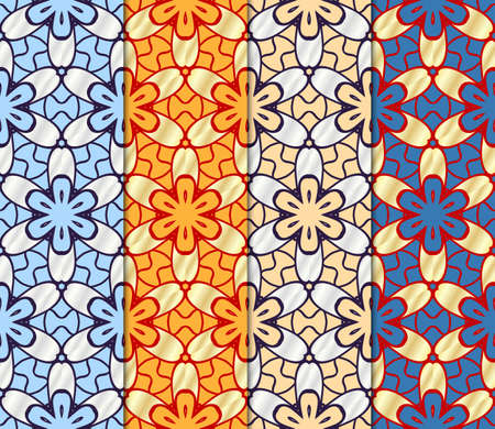 Illustration for Set of Beautiful geometric ornament. seamless art-deco pattern. vector illustration. for design, wallpaper, invitation - Royalty Free Image