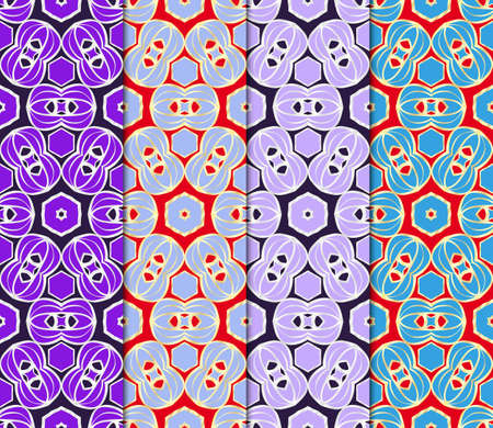 Illustration for Set of Seamless texture of floral ornament. Vector illustration. For the interior design, printing, web and textile. - Royalty Free Image