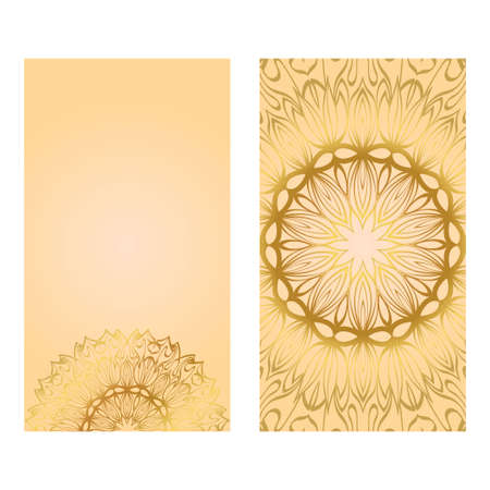 Illustration pour Collection Card With Relax Mandala Design. For Mobile Website, Posters, Online Shopping, Promotional Material. Gold color. - image libre de droit