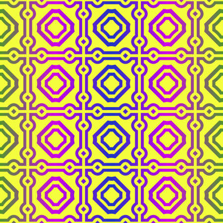 Illustration for Unique, Abstract Geometric Pattern. Seamless Vector Illustration. For Fantastic Design, Wallpaper, Background, Fantastic Print. Yellow purple color. - Royalty Free Image