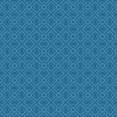 Illustration for Vector Illustration. Pattern With Geometric Ornament, Decorative Border. Design For Print Fabric. Paper For Scrapbook. Blue color. - Royalty Free Image