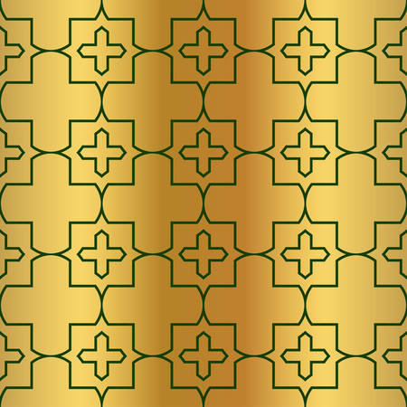 Illustration for Pattern Of Geometric Shapes. Seamless Vector Illustration. For The Interior Design, Wallpaper, Printing, Textile Industry, Scrapbook Paper. Luxury design in green gold color. - Royalty Free Image
