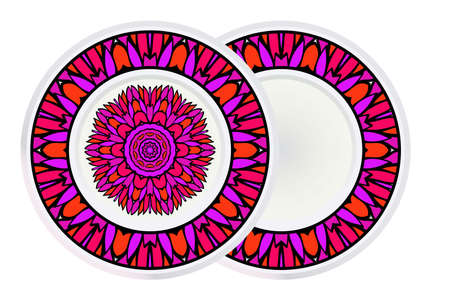 Illustration for Set of Modern Geometric Ornament in Floral Style and round frame. Artdeco. Vector Illustration For Design. - Royalty Free Image