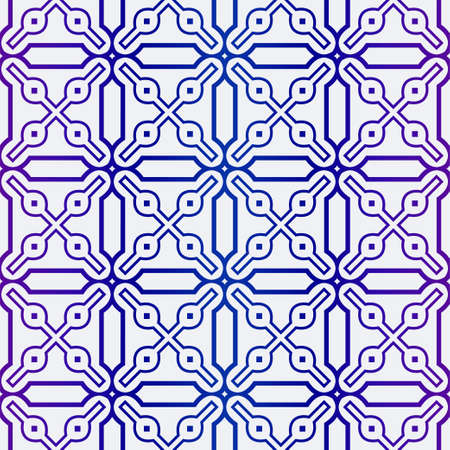 Illustration for Luxury Geometric Ornament. Seamless Pattern. Color. Vector Illustration. For Wallpaper, Invitation, Holiday Background. Blue purple gradient. - Royalty Free Image