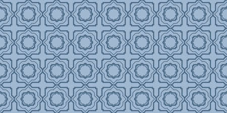 Illustration for Modern Decorative Seamless Abstract Geometric Pattern. Vector Colored Illustration. Paper For Scrapbook. Pastel blue color. - Royalty Free Image
