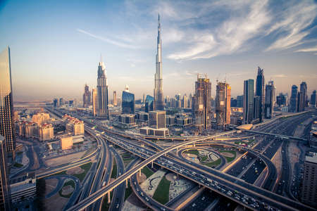 Photo for Dubai skyline with beautiful city close to it's busiest highway on traffic - Royalty Free Image