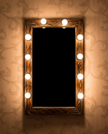 Photo pour Woman's makeup place with mirror and bulbs - image libre de droit