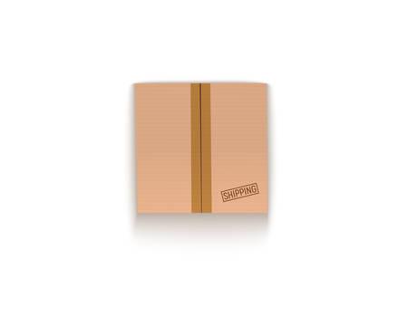 Illustration for Sealed cardboard box isolated on white vector illustration - Royalty Free Image