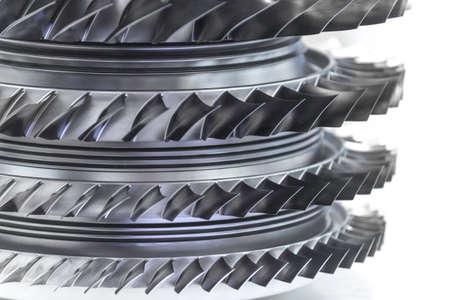 Foto de Turbine Engine. Aviation Technologies. Aircraft jet engine detail in the exposition. Blue toned. - Imagen libre de derechos