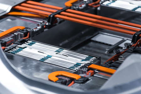 Photo pour Electric car lithium battery pack and power connections. - image libre de droit