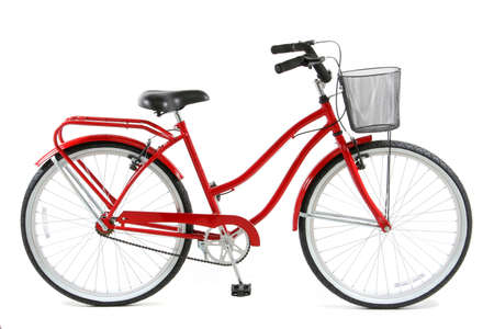 Red Bicycle over white background