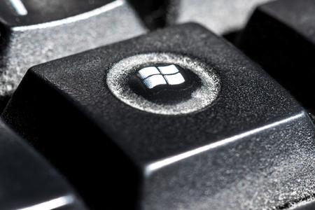 Foto de Kiev, Ukraine 1/15/19, close-up keyboard button in black color. Horizontal frame - Imagen libre de derechos