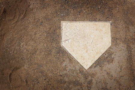Foto per Home plate on baseball field with copy space - Immagine Royalty Free