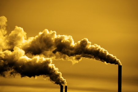 Photo for Pollution and smoke from chimneys of factory or power plant - Royalty Free Image