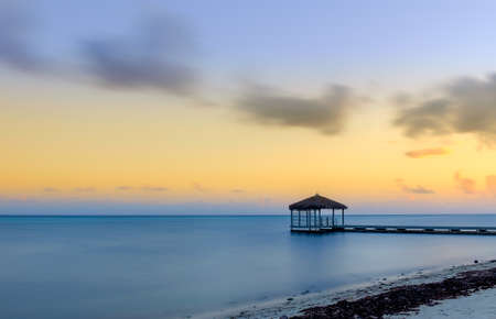 Photo pour Pier in the South Sound area at Dusk, Grand Cayman, Cayman Islands - image libre de droit