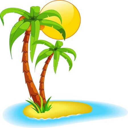 Illustration pour Palms on island - image libre de droit