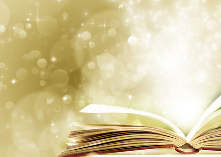 Photo pour Christmas fairy-tale. Christmas background with magic book - image libre de droit