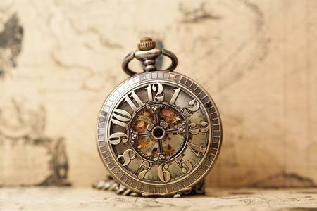 Photo for Vintage watch on antique map. Retro still life - Royalty Free Image