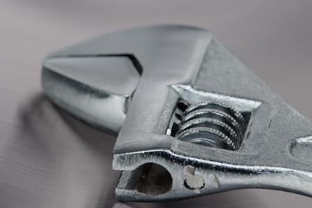 Foto de close-up of an adjustable crescent wrench tool - Imagen libre de derechos