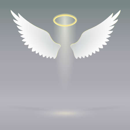 Illustration for Angel wings and golden halo, futuristic background, angel design elements - Royalty Free Image