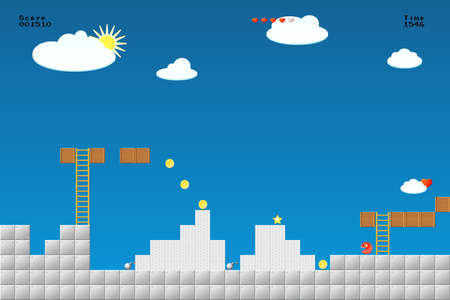 Illustration pour 8-bit video game location, arcade games, star,, bomb, coin, stairs - image libre de droit