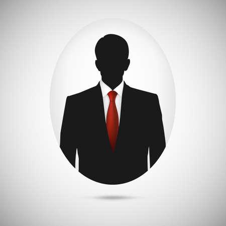 Illustration pour Male person silhouette. Profile picture whith red tie, silhouette profile - image libre de droit