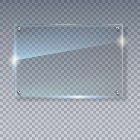 Ilustración de Blank, transparent vector glass plate. Vector template, mock-up banner with copy-space. Photo realistic texture with highlights and glow on the transparent. See through the plastic, 3D illustration. - Imagen libre de derechos