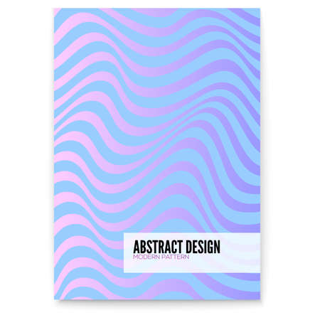 Ilustración de Vector layout from lines. Wavy uneven surface like flag or water. Minimalistic design in purple, aqua and pink bright trendy colors. Undulating backgrounds. Abstract distorted patterns from strips - Imagen libre de derechos