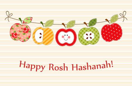 Illustration pour Cute bright apples garland as Rosh Hashanah Jewish New Year symbols - image libre de droit