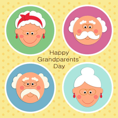 Illustration for Cute Grandparents Day card with funny characters of Grandfather and Grandmother - Royalty Free Image