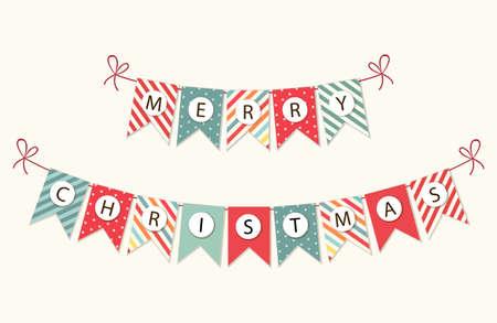Ilustración de Festive bunting flags with letters Merry Christmas in traditional colors - Imagen libre de derechos