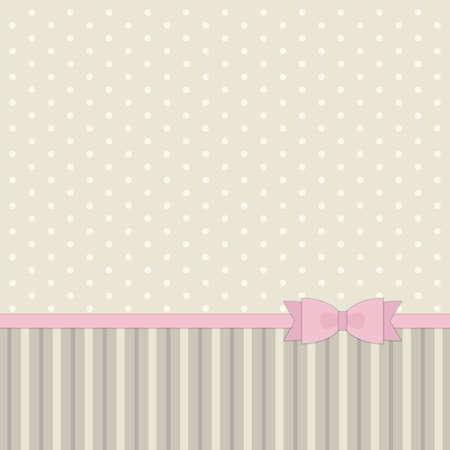 Ilustración de Cute primitive retro pattern with ribbon and bow in shabby chic style for your decoration. - Imagen libre de derechos
