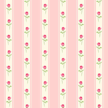 Ilustración de Cute seamless shabby chic pattern with roses and polka dots ideal for kitchen textile or bed linen fabric or interior wallpaper design, can be used for scrap booking paper. - Imagen libre de derechos