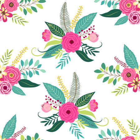 Illustration for Cute seamless pattern with vintage elements as rustic hand drawn first spring flowers for your decoration - Royalty Free Image