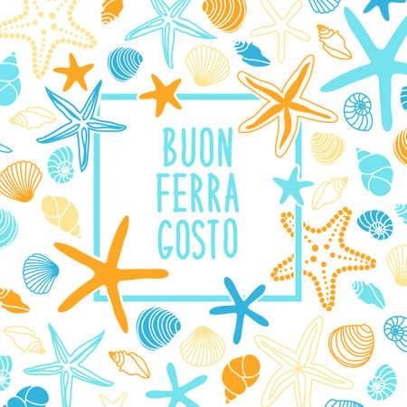 Illustration pour Cute vintage frame with hand drawn shells and starfishes and hand written text Buon Ferragosto italian summer holiday - image libre de droit