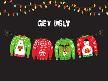 Illustrazione per Cute banner for Ugly Sweater Christmas Party for your decoration - Immagini Royalty Free