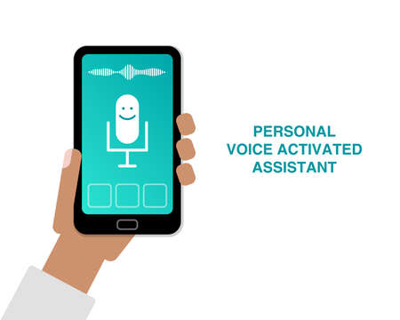 Ilustración de Hand holding cell phone with app of personal voice activated assistant flat illustration - Imagen libre de derechos
