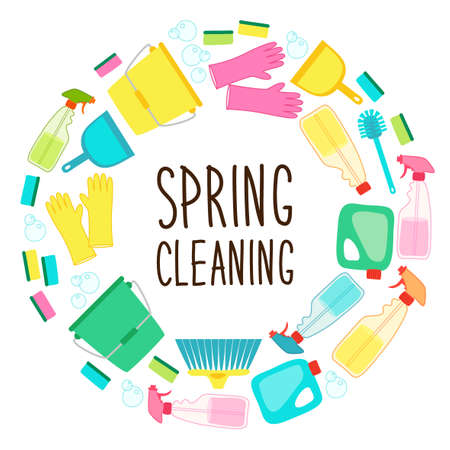 Illustration pour Cute spring cleaning utensils background in vivid eye catching colors and hand written text - image libre de droit