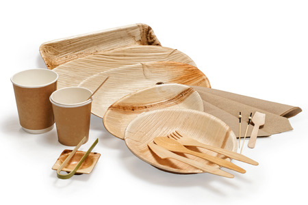 Bamboo wooden tableware isolated on white background