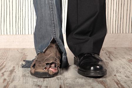 Photo pour concept of rich and poor in a person - image libre de droit