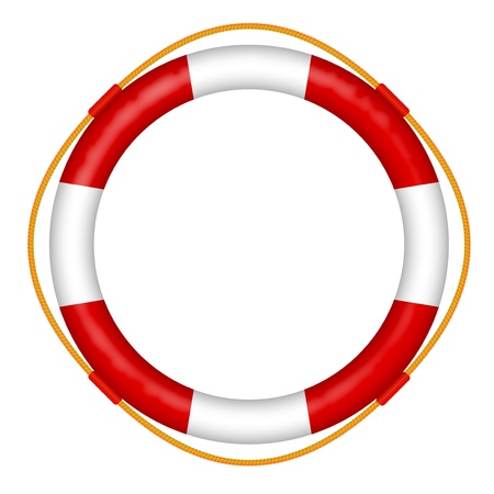 Illustration for  life buoy with rope - red and white lifebelt - sos help icon vector illustration - Royalty Free Image