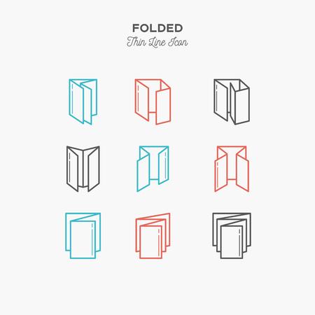 Ilustración de Color line icon set of Folded objects. Scoring scheme booklets, print design, printing house objects. Logo icons vector illustration - Imagen libre de derechos