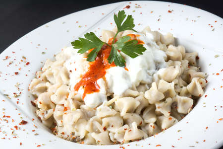 Foto de Traditional Turkish Food Manti with Yoghurt and Gravy Sauce - Imagen libre de derechos