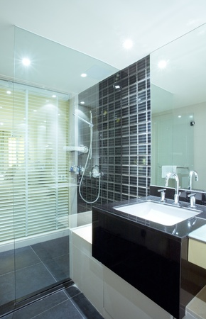 Fragment like view of nice modern stylish bathroom interior