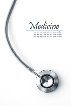 Photo for Close up view of grey stethoscope on white back - Royalty Free Image