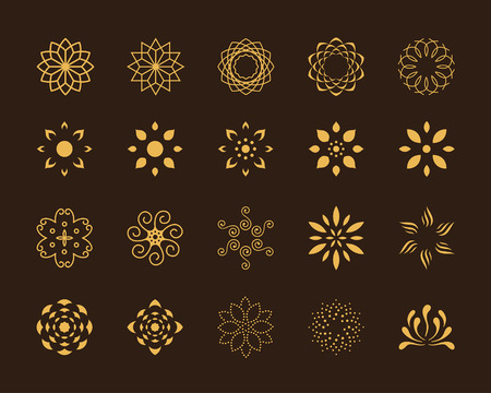 Illustration pour Set of 20 abstract lotus vector symbols - image libre de droit