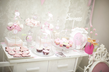 Photo for pink candy bar. the holiday table decoration - Royalty Free Image